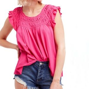 NEW Free People coconut gathered top hot pink